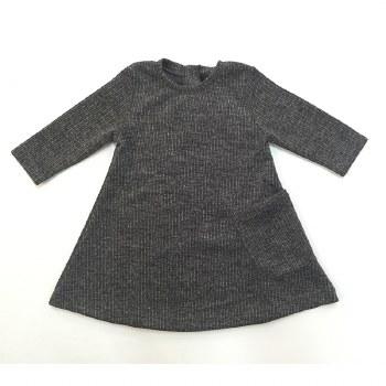 Metallic Ribbed Dress Charcoal
