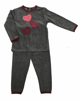 Velour PJ W/ Hearts Grey/Burgu