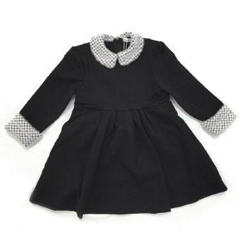 Dress W/ Fur Trim Black/White