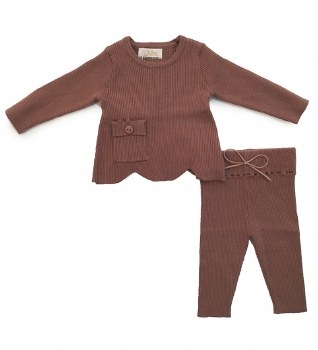 Scalloped Ribbed Knit Mauve 6M