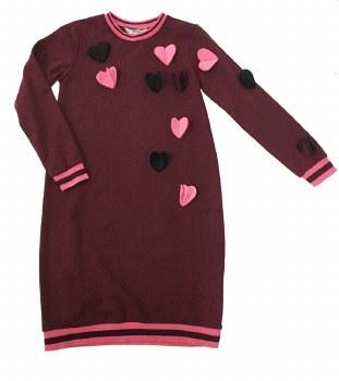 Dress W/ Felt Hearts Wine 6X