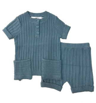 Ribbed Knit Baby Set Blue 6M