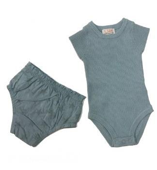 Rib Knit Baby Set Blue 18M