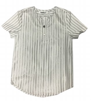 Metallic Striped S/S Shirt Whi