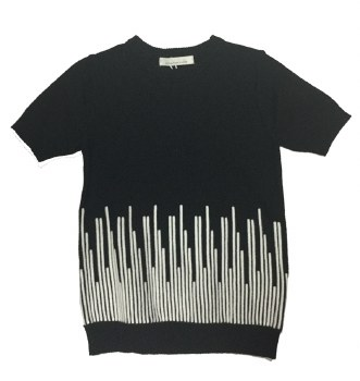S/S Contrast Sweater Black/Whi