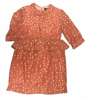 Dress W/ Gold Dots Coral 5
