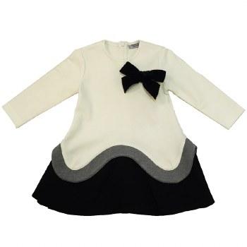 Colorblock Ruffle Dress Cream/