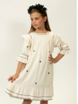 Dress w/ Stitching Cream/Black