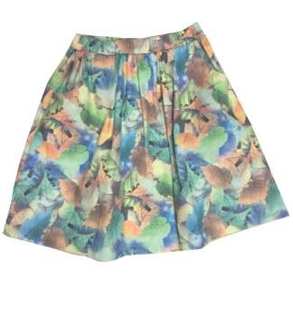 Leaf Print Skirt Green 6