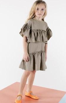 Dress w/ Ruffles Taupe 10