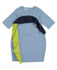 Denim Ruffle Bubble Dress Ligh