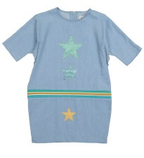 Denim Star Patch Dress Light 5
