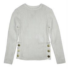 Rib Sweater W/ Side Buttons Cr