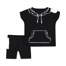 Hoodie Print Baby Set Black/Wh