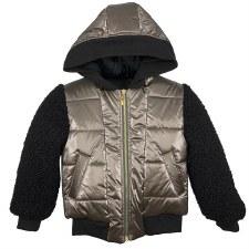 Coat W/ Sherpa Sleeves Bronze