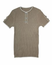 S/S Sweater W/ Buttons Taupe 7