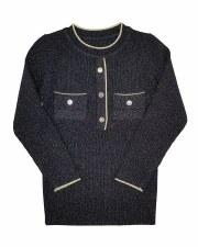 Ribbed Metallic Sweater Black/