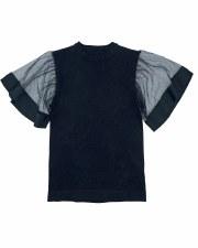Knit Top W/ Mesh Wings Black 8