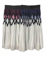 Diamond Print Pleated Skirt Pl