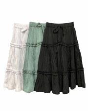 Tiered Crinkle Skirt Black 6