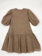 Eyelet Puff Sleeve Dress Taupe