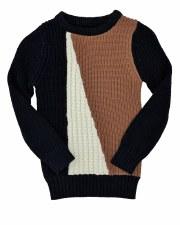 Combo Rib Sweater Black/Camel