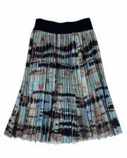 Printed Pleated Skirt Teal/Bla