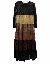 Tiered Velour Robe Black/Brown