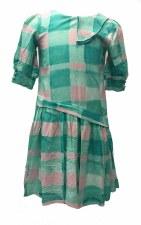 Asymetrical Gingham Dress Teal