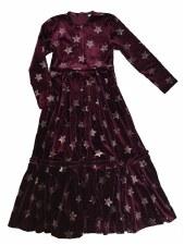 Velour Stars Robe Burgundy 5