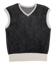 Ribbed Vest Black/White 16