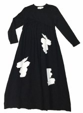 Cotton Brushstrokes Robe Black