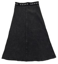 Long Ribbed Denim Skirt Grey 7