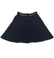 Ribbed Denim Skirt Blue 8