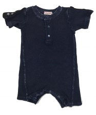 Ribbed Denim Romper Blue 9M
