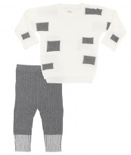 Knit Baby Set W/ Squares Cream