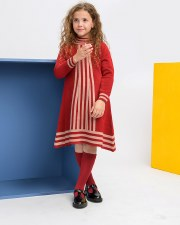 Contrast Striped Knit Dress Cr