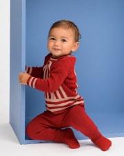 Contrast Striped Knit Baby Set