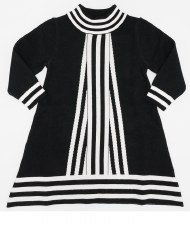 Contrast Striped Knit Dress Bl