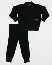 Textured Knit Set W/ Pocket Bl