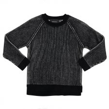 Ribbed Knit Sweater Black/Whit