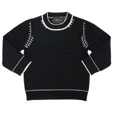 Sweater W/ Stitching Black/Whi