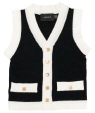 Button Down Vest Black/White 6