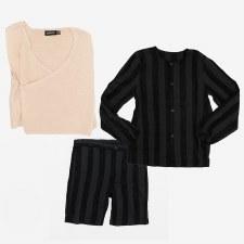 Velvet Striped Short Set W/ Sw