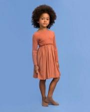 Rib Knit Dress Salmon 6