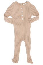 Ribbed Knit Footie Sand 6M