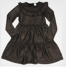 Tiered Metallic Dress Gold 4