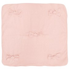 Ribbed Blanket W/ Bows Pink