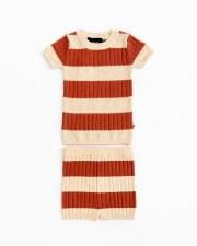 Contrast Stripe Knit Set Apple