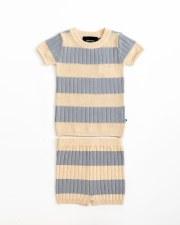 Contrast Stripe Knit Set Blue/